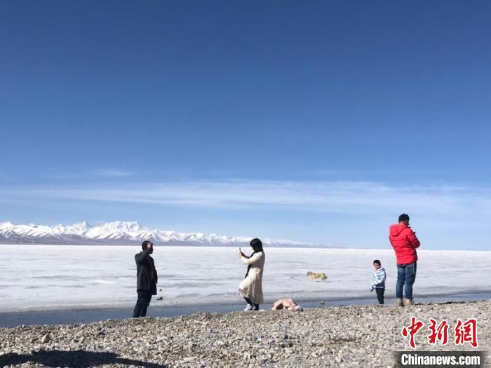 图为纳木错恢复开放首日,游客在景区游玩。纳木错景区供图