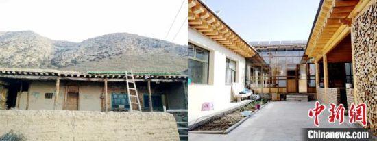 图为来玉村村民老宅(海拔3100米)与易地扶贫搬迁后新居(海拔1900米)对比。尖宣 供图