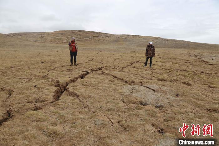 图为地裂缝带内共轭剪节理。 青海省地质调查院 供图