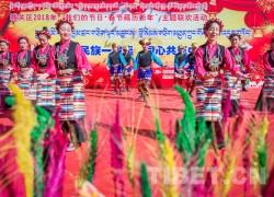 """看演出吃""""古突"""" 拉萨藏热社区各族群众春节藏历新年联欢"""